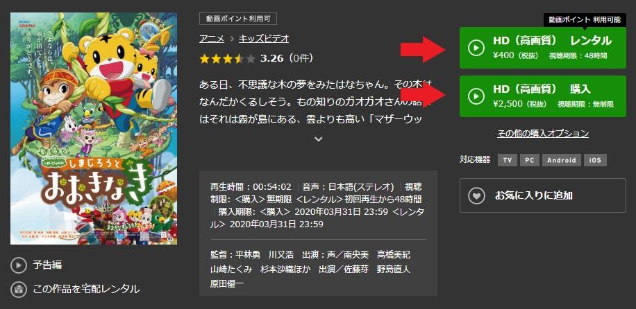 TSUTAYA TVのしまじろうのわお!の画質